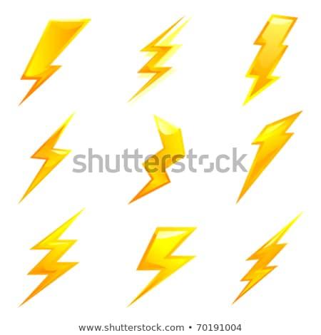 Lightning icon set - cartoon design. Vector thunderbolt symbols. Simple flash signs Stock photo © ExpressVectors