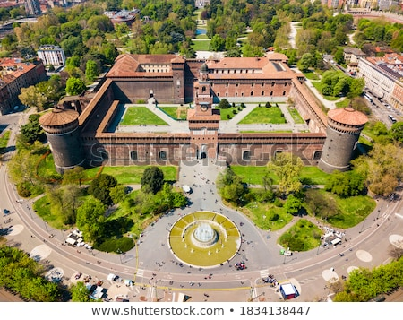 Stockfoto: Milaan · kasteel · Italië · zwarte · retro · witte