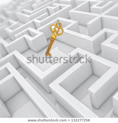 Stock photo: golden key in labyrinth