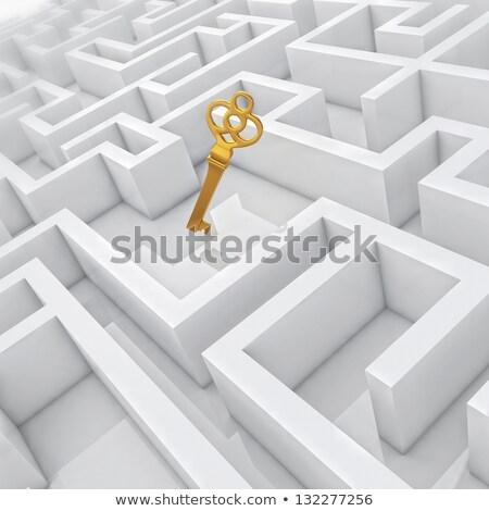 dourado · quebra-cabeça · 3D · ilustração · 3d · cor - foto stock © marinini