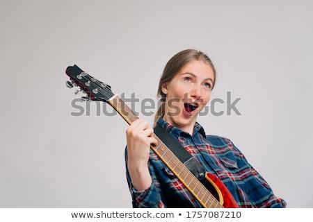 şarkı söyleme rock'çı kız sarışın mikrofon beyaz Stok fotoğraf © dnsphotography