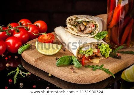 chicken and black bean burrito wrap stock photo © fotogal