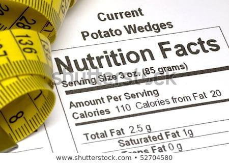 Meetlint voeding feiten Geel informatie verpakking Stockfoto © REDPIXEL