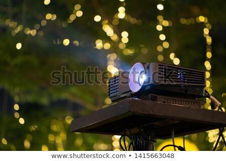 Multimedia zwarte projector geïsoleerd witte muur Stockfoto © ozaiachin
