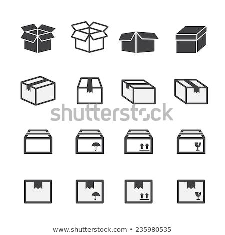 Set of interface icons on cardboard background stock photo © AnnaVolkova