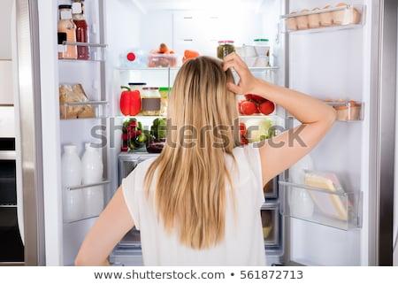 диеты Lady холодильник драматический момент ночь Сток-фото © Vg