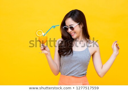cute summer girl with cocktail glass stock photo © glyph