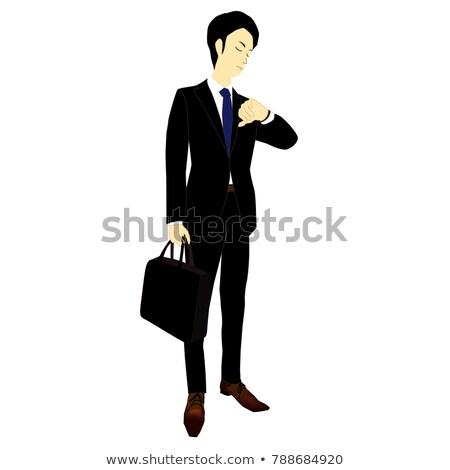 ストックフォト: ビジネスマン · 見える · 時間 · 男 · 会議 · スーツ