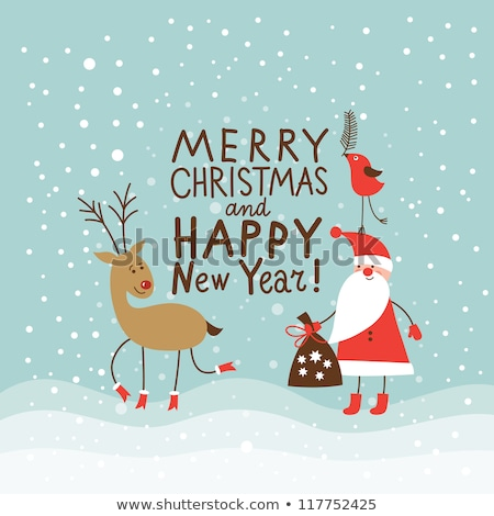 christmas background with cute decorations and birds stock photo © elmiko