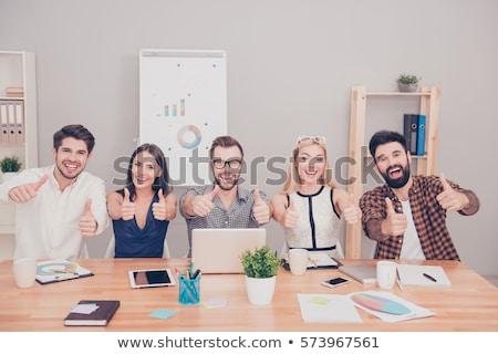 Successful business colleague women showing thumbsup Stock photo © get4net