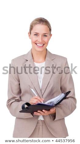 Tolakodó üzletasszony készít jegyzetek terv izolált Stock fotó © wavebreak_media