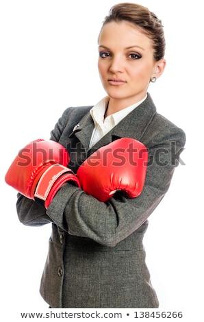 Femme d'affaires lutte gants de boxe bureau mains heureux Photo stock © wavebreak_media