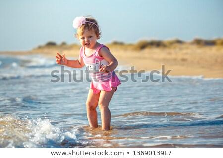 Сток-фото: Young Girl Afraid Of The Water