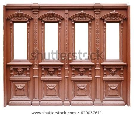 古い木材 ドア ライオン ハンドル 孤立した 白 ストックフォト © pinkblue