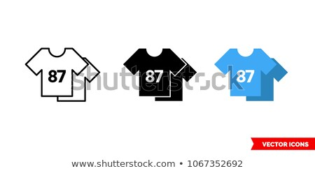 football player pictogram on blue background stock photo © seiksoon