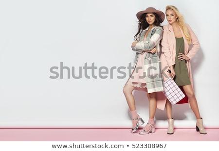 модный женщину розовый длинный рукав футболки Сток-фото © stryjek