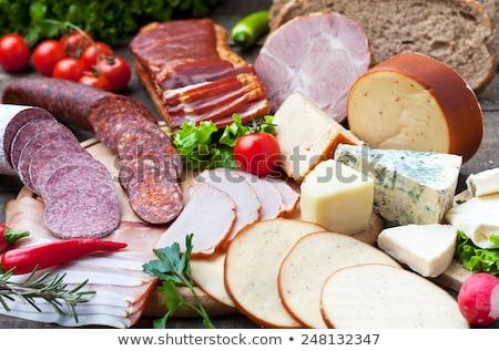 kenyér · olaj · szőlő · fehér · tábla · ebéd - stock fotó © M-studio