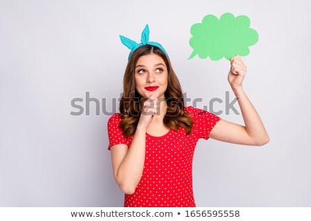 red lips with speech bubble with retro paper stock photo © adamson