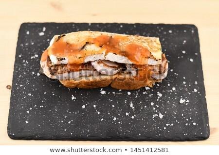 Disznóhús vesepecsenye pirítós tipikus spanyol tapas Stock fotó © Photooiasson