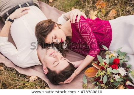 Сток-фото: любящий · пару · саду · портрет · счастливым · семьи