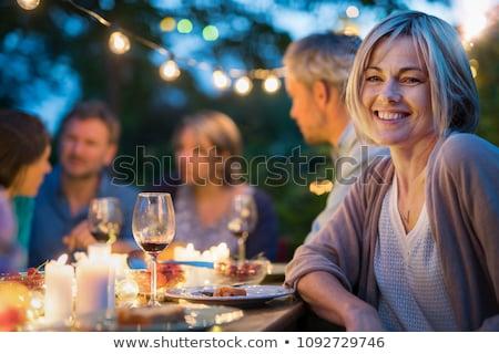 vrouw · genieten · salade · tuin · voedsel · home - stockfoto © hasloo
