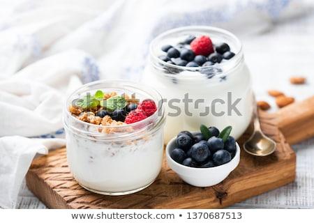 Yogurt alimentos fresa bienestar dieta cereales Foto stock © M-studio