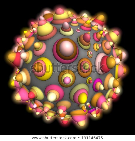 3d glowing techno ball in orange pink on black Stock photo © Melvin07