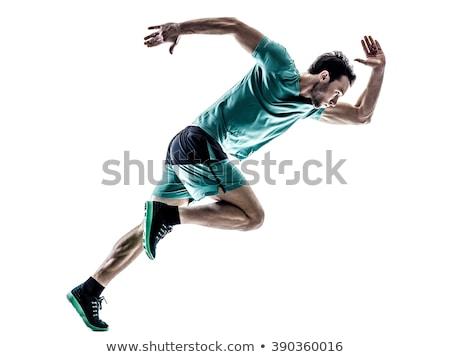 Atleet mooie sexy witte gezondheid Blauw Stockfoto © fogen