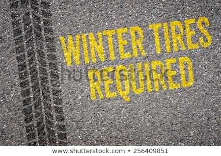 Sáv szöveg tél autógumik autó hó Stock fotó © Zerbor