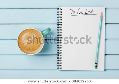 pour · faire · la · liste · texte · notepad · affaires · bureau · crayon - photo stock © stevanovicigor