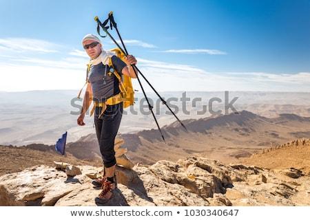 hiker with trekking poles Stock photo © PixelsAway
