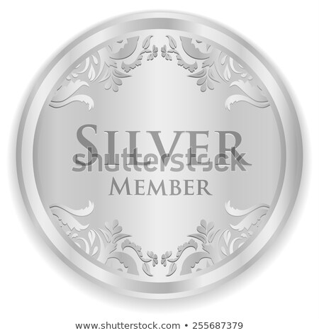 Silver member badge with silver vintage pattern Stock photo © liliwhite