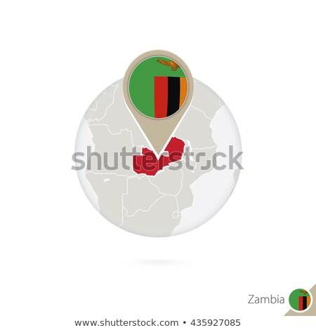 zászló · címke · Zambia · izolált · fehér · felirat - stock fotó © tony4urban