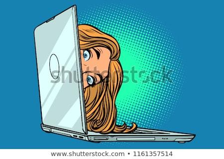 Woman With Eyelashes Hiding Stok fotoğraf © rogistok