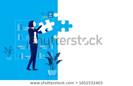 Naprawy puzzle miejsce brakujący sztuk tekst Zdjęcia stock © tashatuvango