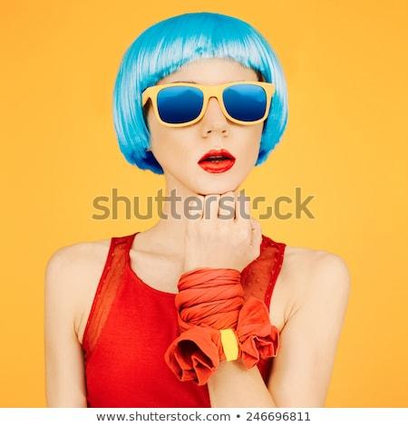 Stockfoto: Roze · dames · zonnebril · geïsoleerd · Geel · uitstekend