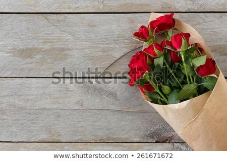 美しい 赤いバラ 木製のテーブル 在庫 写真 愛 ストックフォト © nalinratphi