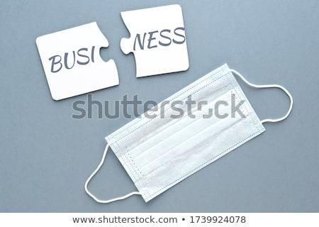 Stockfoto: Blauw · puzzel · witte · financieren · crash