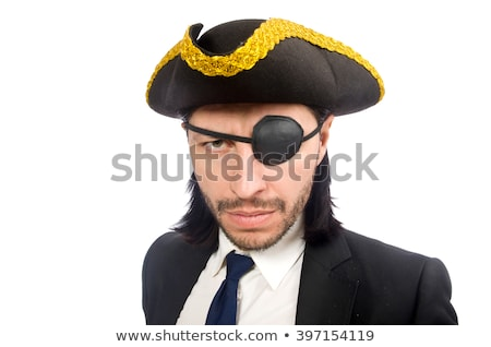 young man in costume with pirate hat isolated on white stock photo © elnur
