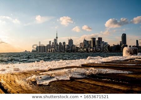 Toronto muelle invierno hielo tormenta horizonte Foto stock © pictureguy