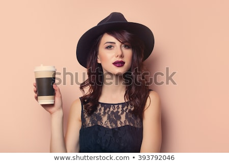 Gyengéd gyönyörű fiatal nő fekete ruha szexi divat Stock fotó © deandrobot