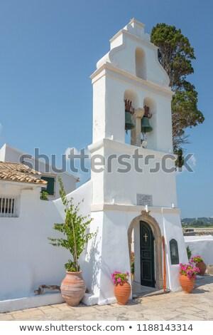 Kolostor Görögország tájkép tenger kék építészet Stock fotó © goce