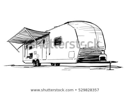 Car with trailer sketch icon. Stock photo © RAStudio