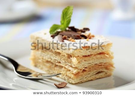 яблоко Ломтики торт сахарная пудра пластина десерта Сток-фото © Digifoodstock