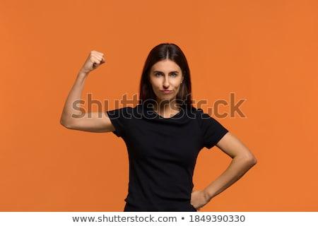 Gewapend gevaarlijk meisje profiel aantrekkelijk jonge vrouw Stockfoto © MilanMarkovic78