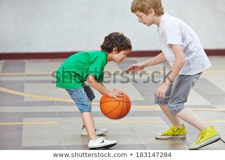 erkek · oynama · basketbol · beyaz · örnek · çocuk - stok fotoğraf © bluering