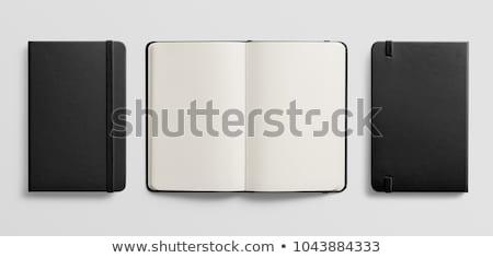 открытых ноутбук канцтовары черный древесины школы Сток-фото © OleksandrO