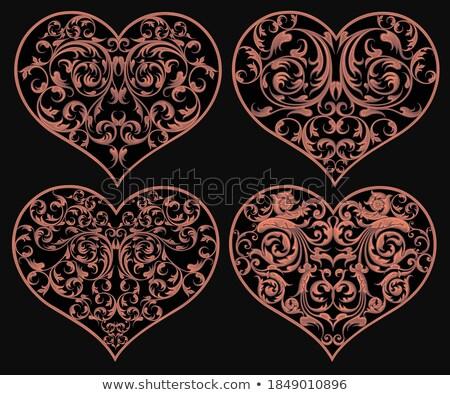 Сток-фото: Валентин · ретро · кадр · прибыль · на · акцию · вектора