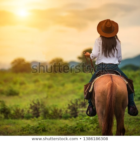 Happy woman cowgirl riding horse on ranch Stock photo © deandrobot