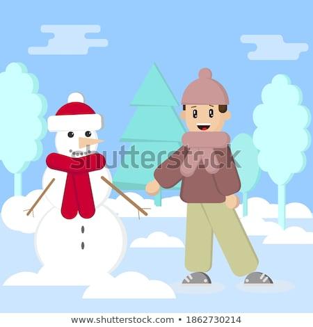 Fiú készít hóember gyerekek tél tevékenységek Stock fotó © vectorikart